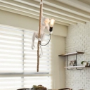 Resin Monkey Suspension Pendant Light Art Deco 1-Light White Hanging Light with Rope Cord