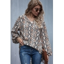 Unique Womens Shirt Leopard Skin Print Chiffon High-Low Hem Relaxed Fitted Long Bishop Sleeve V Neck Pullover Shirt