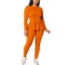Elegant Women's Co-ords Lace up Detailed Peplum Ruffled Hem Round Neck Long Sleeves Regular Fitted T-Shirt with Long Pants Set