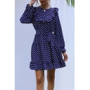 Classic Women's A-Line Dress Polka Dot Pattern Ruffles Banded Waist Belted Round Neck Long Sleeves Regular Fitted A-Ling Dress