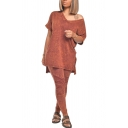 Fancy Womens Set Faded Wash Split Side V Neck Short-sleeved Asymmetrical Hem Relaxed Fitted with Pleated High Waist Long Pants Co-ords