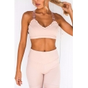 Sporty Women's Set Solid Color Ruffled Hem V Neck Sleeveless Fitted Crop Top with High-Rise Pants