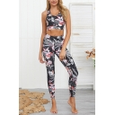 Womens Co-ords Creative Floral Leaf Pattern Sleeveless Scoop Neck Cropped Tank Top Skinny Fitted Leggings Yoga Co-ords