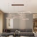 3/4/5-Layer Circle Aluminum Pendant Light Minimalism Brown LED Chandelier Light Fixture