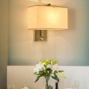 Simplicity 1 Head Wall Lamp Kit Black/White/Beige Rectangle Sconce Light Fixture with Fabric Shade