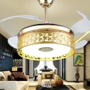 Gold Hollowed out Drum Semi Flush Mount Postmodern 19