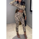 Vintage Womens Co-ords Leopard Skin Print Skinny Fitted Shorts High Neck Cropped Long Sleeve Tee Co-ords