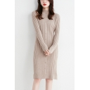Stylish Women's Sweater Dress Rib Knitted Button-down Crew Neck Long-sleeved Slim Fitted Straight Sweater Dress