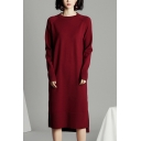 Leisure Women's Sweater Dress Solid Color Ribbed Trim Side Slit Crew Neck Long-sleeved Regular Fitted Sweater Dress