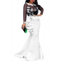 Womens Trendy Evening Gown Contrast See-Through Mesh Patchwork Ruffle Detail Crew Neck Long Sleeve Slim Fitted Floor Length Mermaid Dress