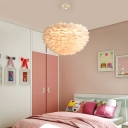 Nordic Style Round Pendant Lamp Feather 5 Bulbs Bedroom Hanging Chandelier in White with Bird Decor, 16