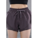 Classic Womens Shorts Solid Color 2-in-1 Anti-Emptied Side Split Hem Drawstring Waist Regular Fitted Sport Shorts