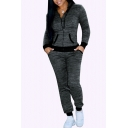 Womens Co-ords Chic Space Dye Zipper down Long Sleeve Hooded Jacket Slim Fitted 7/8 Length Pants Sport Co-ords