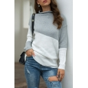 All-Match Women's Sweater Patchwork Color Block Rib Trim Rolled Hem Mock Neck Long-sleeved Regular Fitted Sweater