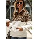 Winter Style Hoodie Color Block Leopard Pattern Color Block Kangaroo Pocket 1/4 Zip Collar Long-sleeved Fitted Fur Hooded Sweatshirt for Women