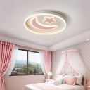 Cartoon Moon and Star Ceiling Flush Acrylic Kids Room LED Round Flush Mount Light Fixture in Pink/Blue/Black