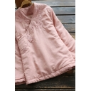 Elegant Women's Jacket Floral Embroidered Button Detail Stand Collar Long Sleeve Relaxed Fit Down Coat