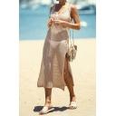 Stylish Women's Tank Dress Broderie Detail Slit Backless V Neck Sleeveless Midi Knitted Tank Dress