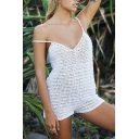 Womens Romper Stylish Hand-Hook Hollow Knitted Sun Protection Backless Sleeveless V Neck Slim Fitted Cover up Romper