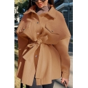 Womens Jacket Trendy Solid Color Flap Chest Pockets Woolen Tie-Waist Button up Turn-down Collar Loose Fit Long Sleeve Shirt Jacket