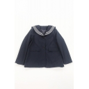 Classic Womens Jacket Flap Pockets Three-Stripe Sailor Collar Button up Loose Fit Long Sleeve Suit Jacket