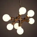 Iron Rust Chandelier Water Pipe 7 Bulbs Loft Style Ceiling Hang Light with Exposed Bulb Design