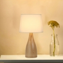 Vase Shaped Night Table Lamp Simple Wooden 1-Light Bedroom Nightstand Light with Tapered Fabric Shade
