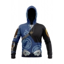 Novelty Mens Co-ords 3D Cosplay Contrast Hanzo Master Slim Fitted 7/8 Length Tapered Pants Long Sleeve Zipper down Hoodie Jogger Co-ords