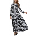 Womens Dress Chic Floral Leaf Pattern Zipper Back Maxi A-Line Slim Fitted Round Neck Long Sleeve Swing Dress