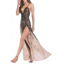 Womens Dress Trendy Sequin Decoration Double High Slit Deep V Neck Sleeveless Slim Fitted Maxi Bodycon Dress