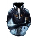 New Fashion Cool Owl 3D Printed Drawstring Hooded Long Sleeve Grey Loose Fit Hoodie