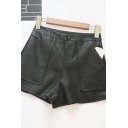 Womens Shorts Simple Double Large Pockets Front Zipper Fly A-Line High Waist Regular Fitted Black PU Shorts