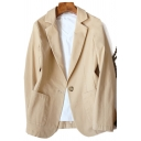 Basic Women's Jacket Plain Single-Breasted Front Pockets Notched Collar Long Sleeves Regular Fit Suit Jacket