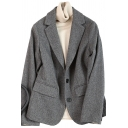 Fancy Women's Jacket Button-down Flap Pockets Notched Collar Long-sleeved Relaxed Fit Suit Jacket