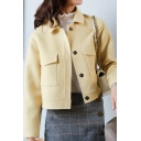 Womens Coat Simple Plain Cropped Double-Sided Wool Button Detail Long Sleeve Turn-down Collar Regular Fit Wool Coat