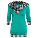 Womens Hoodie Chic Contrast Checkered Pattern Panel Tunic Slim Fitted Long Sleeve Hoodie