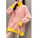 Fancy Womens Sweatshirt Color Block Contrast Trim Front Pocket Asymmetrical Hem High Neck Long Bishop Sleeved Relaxed Fit Sweatshirt
