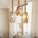 Single Gem Shaped Pendant Light Retro Brass Clear/Seedy Glass Down Lighting over Table