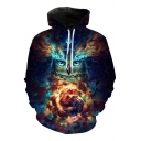 Cool Mens 3D Galaxy Owl Pattern Pocket Drawstring Long Sleeve Regular Fit Hooded Sweatshirt