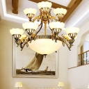 Handmade Layered Flower Milk Glass Chandelier Traditional 15 Bulbs Dining Room Suspension Light in Brass