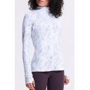 Cool Womens Sport Jacket Geometric Pattern Finger Holes Full-Zipper Long Sleeve Mock Neck Slim Fit Yoga Jacket