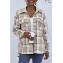 Leisure Women's Shirt Plaid Print Chest Pockets Button-down High-Low Hem Spread Collar Long-sleeved Regular Fitted Shirt Blouse