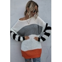 Womens Sweater Fashionable Contrast Panel Stripe Pattern Round Neck Long Drop-Sleeve Tunic Relaxed Fitted Sweater