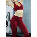 Fitness Women's Co-ords Solid Color Strapped Scoop Neck Sleeveless Cropped Tank Top with Fitted High-Rise Pants Yoga Set