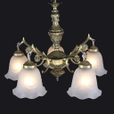 Bronze 5-Bulb Ceiling Hang Lamp Antique Milky Frosted Glass Scalloped Chandelier over Dining Table