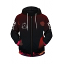 Novelty Mens Hoodie Ombre Color Sand Demon Pattern Drawstring Zipper up Slim Fitted Long Sleeve Hoodie