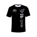 AMERICAN FIGHTER Letter Print Summer Street Style Loose Black T-Shirt