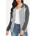 Womens Trendy Color Block Long Sleeve Zip Up Fitted Grey Hoodie