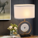 White Oblong Night Table Lamp Postmodern 1 Bulb Fabric Nightstand Light with Ring Stand