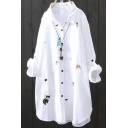 Basic Womens Shirt Cat Dog Flower Embroidery Button down Tunic Loose Fit Long Roll-Tab Sleeve Turn down Collar Shirt